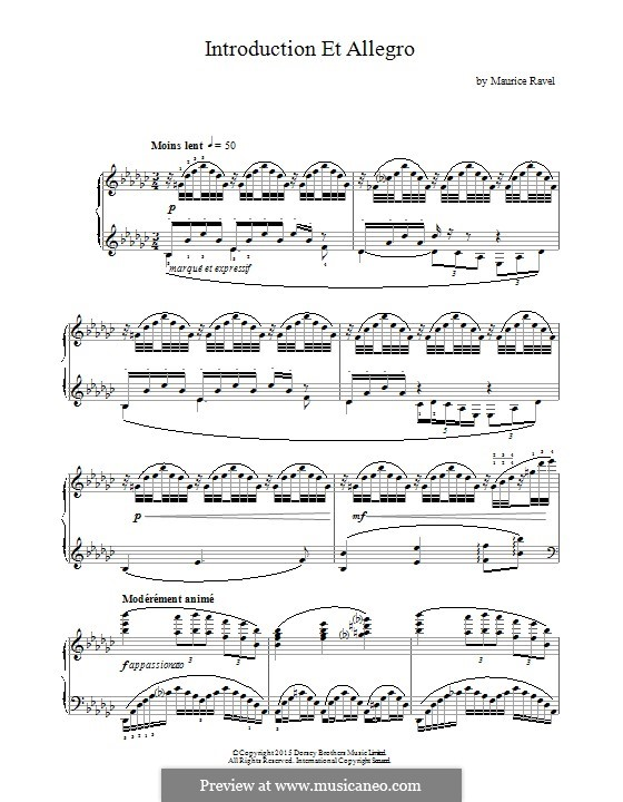 Introduction and Allegro, M.46: For piano by Maurice Ravel