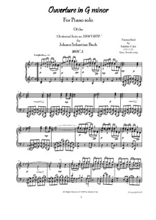 Orchestral Suite in G Minor, BWV 1070: Movement I Larghetto - Poco allegro, for piano by Johann Sebastian Bach