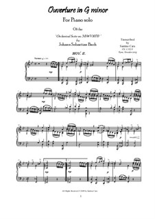 Orchestral Suite in G Minor, BWV 1070: Movement II Torneo, for piano by Johann Sebastian Bach