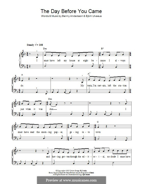 The day before you came print sheet music now.