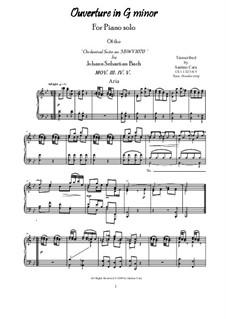 Orchestral Suite in G Minor, BWV 1070: Movements III-V - Aria, menuetto, trio, for piano by Johann Sebastian Bach
