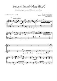 Suscepit Israel (Magnificat) for 2 voices: Suscepit Israel (Magnificat) for 2 voices by Giovanni Battista Pergolesi