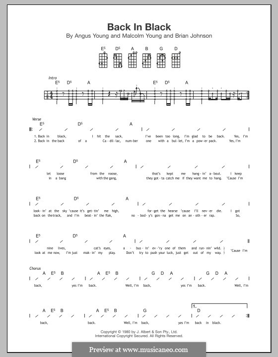 Back in Black (AC/DC): For ukulele by Angus Young, Brian Johnson, Malcolm Young