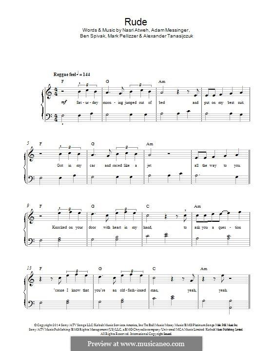 Rude (MAGIC!): For piano by Adam Messinger, Nasri Atweh, Mark Pellizzer, Alex Tanas, Ben Spivak