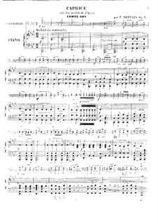 Caprice on 'Le comte Ory' by Rossini, Op.3: Score for cello and piano by Adrien-François Servais