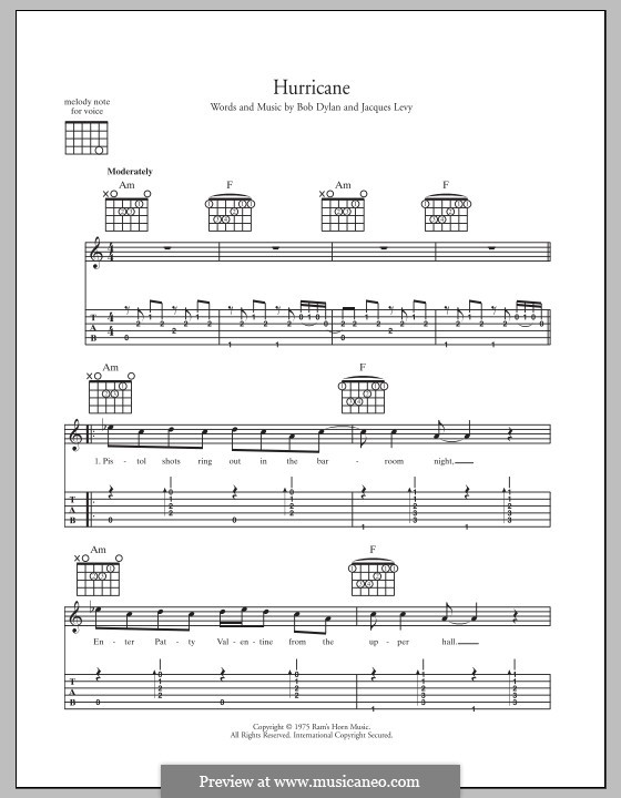 Hurricane: For guitar with tab by Bob Dylan