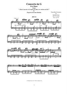 Flute Concerto in G Major: Arrangement for piano - II Largo, CS 1.137/2 by Giovanni Battista Pergolesi