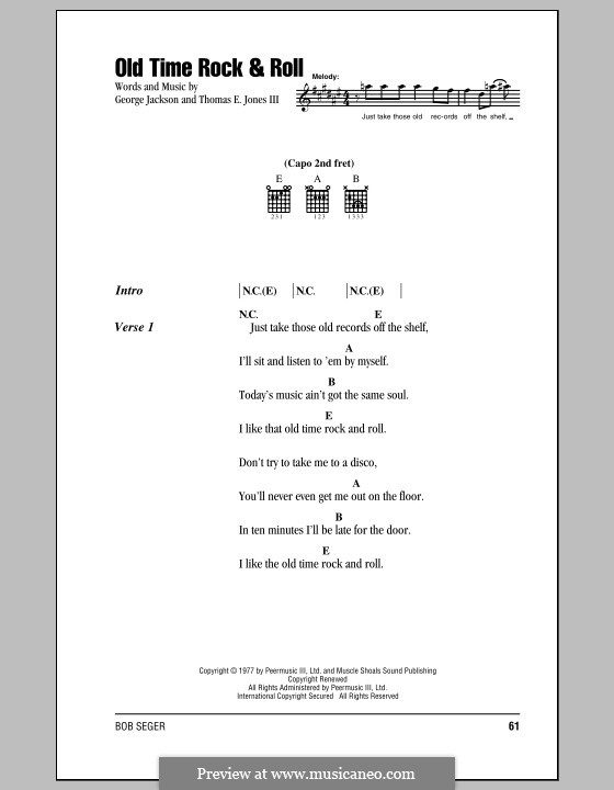 Old Time Rock and Roll: Lyrics and chords by George E. Jackson, Thomas Jones III