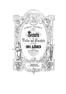 Sonata for Violin and Piano No.1 in G Minor, Op.19: Score by Emil Sjögren