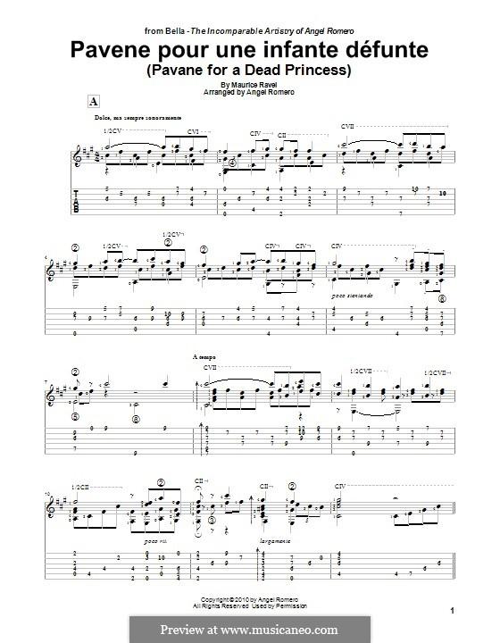 Pavane pour une infante défunte (Pavane for a Dead Princess), M.19: For guitar by Maurice Ravel