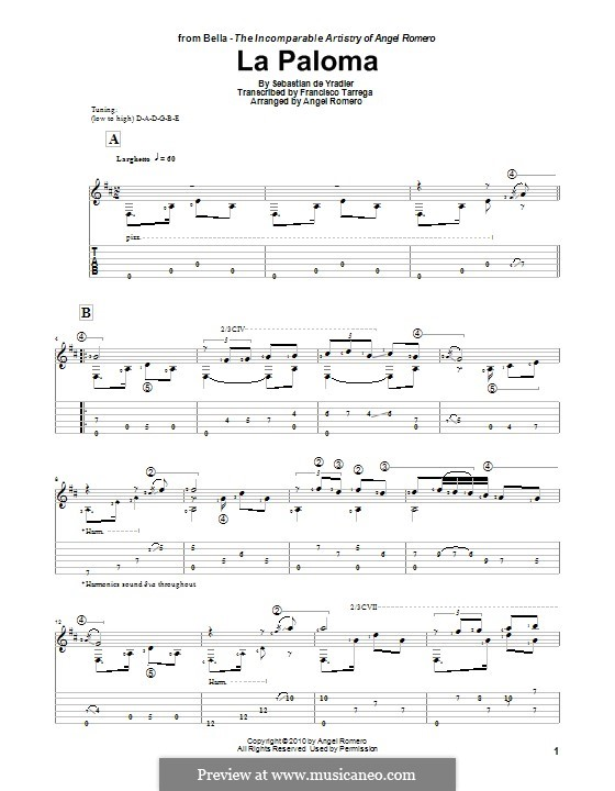 La Paloma (The Dove): For guitar by Sebastián Yradier