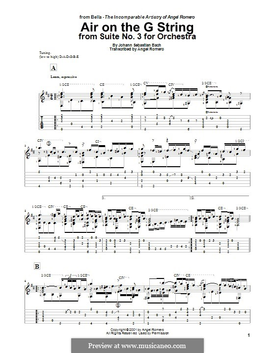 Aria (Printable Scores): Version for guitar by Johann Sebastian Bach