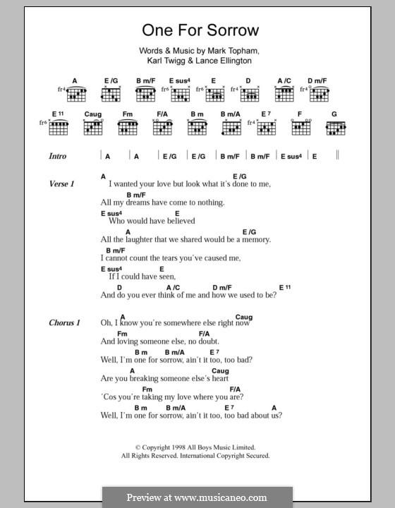 One for Sorrow (Steps): Lyrics and chords by Karl Twigg, Mark Topham, Lance Ellington