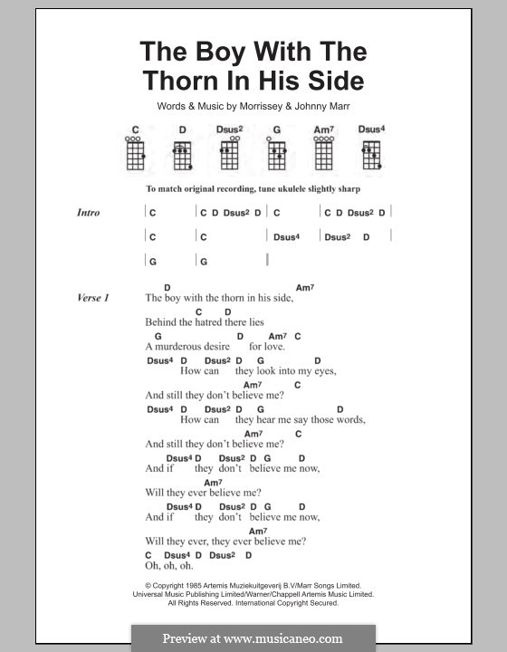 The Boy with the Thorn in His Side: For ukulele by Morrissey, Johnny Marr