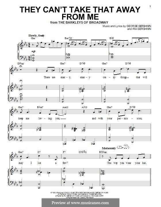 They Can't Take That Away from Me: For voice and piano (Frank Sinatra) by George Gershwin