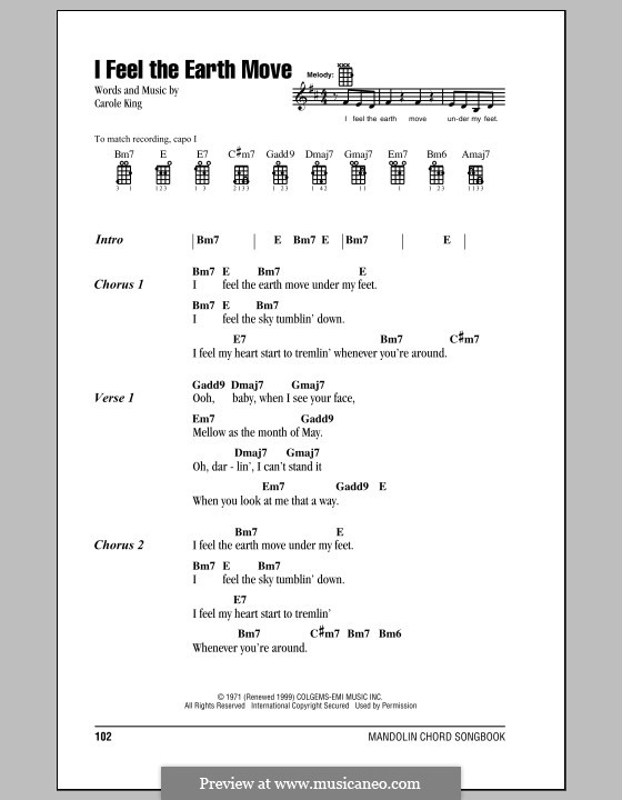 I Feel The Earth Move By C King Sheet Music On Musicaneo