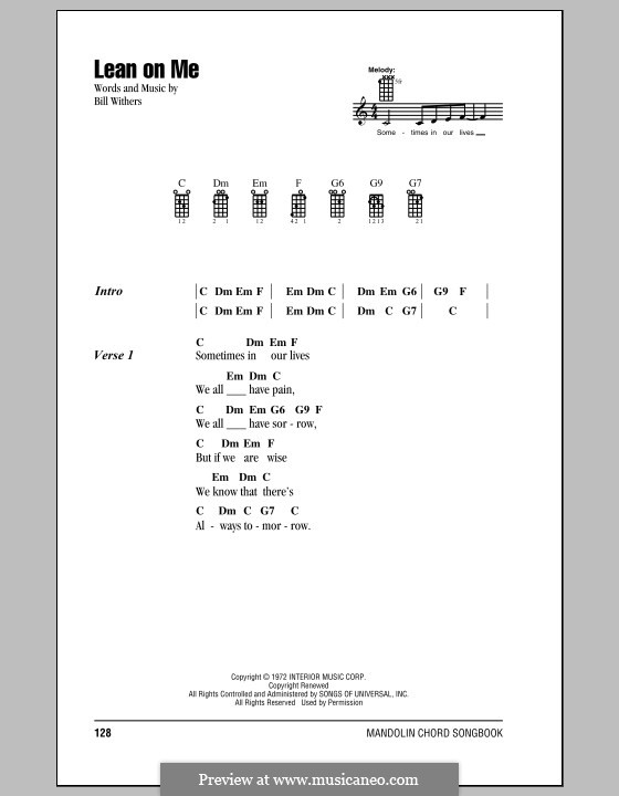 Lean On Me By B Withers Sheet Music On Musicaneo
