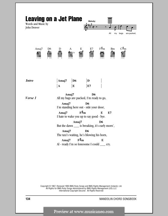 Leaving On A Jet Plane By J Denver Sheet Music On Musicaneo