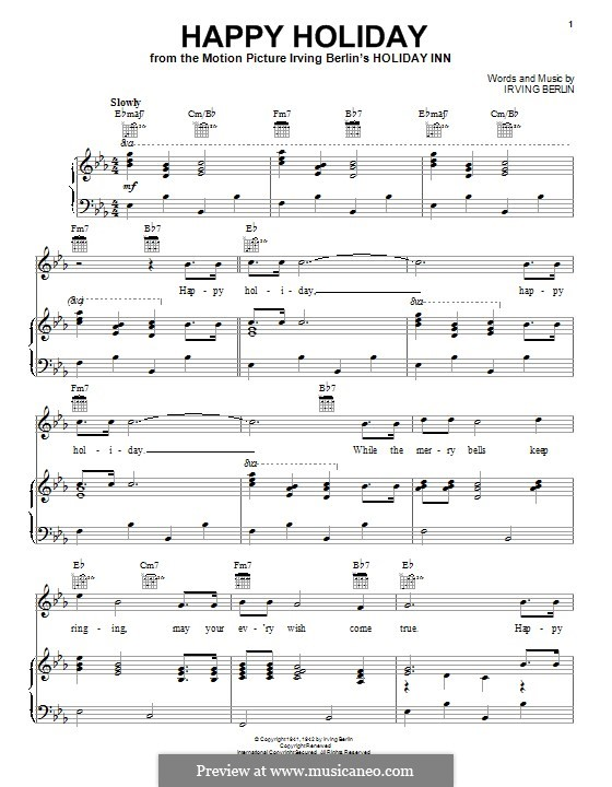 Happy Holiday: For voice and piano (or guitar) by Irving Berlin