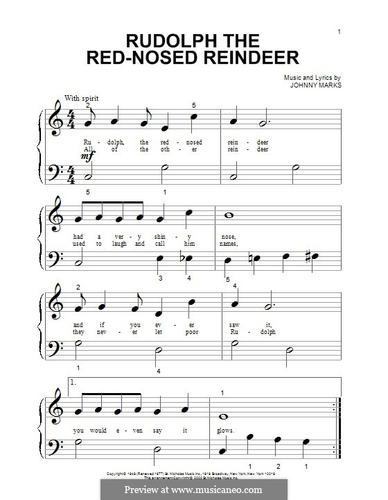 Rudolph the Red-Nosed Reindeer: For piano by Johnny Marks