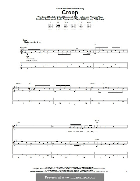 Creep (Radiohead): For guitar with tab by Albert Hammond, Colin Greenwood, Ed O'Brien, Jonny Greenwood, Mike Hazelwood, Phil Selway, Thomas Yorke