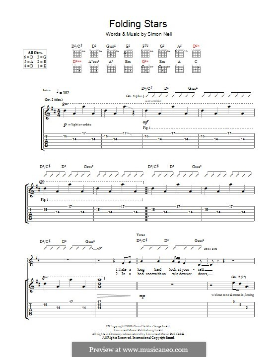 Folding Stars (Biffy Clyro): For guitar with tab by Simon Neil