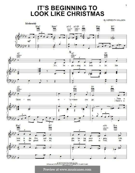 It's Beginning to Look a Lot Like Christmas (Perry Como): For voice and piano (or guitar) by Meredith Willson