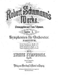 Symphony No.2 in C Major, Op.61: Full score by Robert Schumann