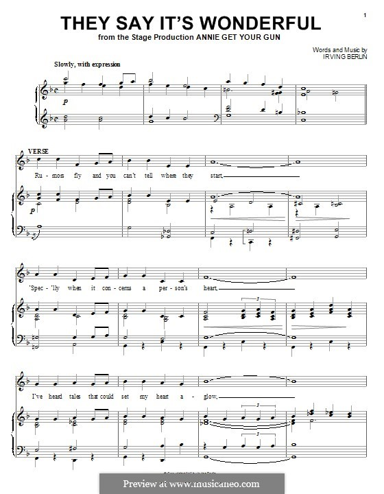 They Say It's Wonderful: For voice and piano (or guitar) by Irving Berlin