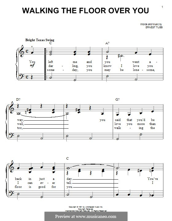 Walking the Floor Over You: For piano by Ernest Tubb