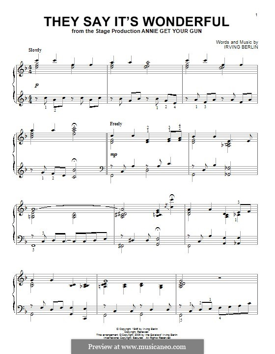 They Say It's Wonderful: For piano by Irving Berlin