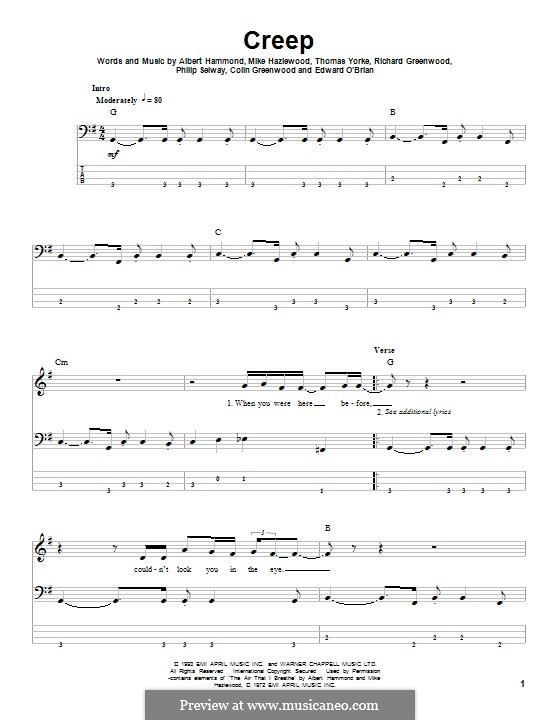 Creep (Radiohead): For bass guitar with tab by Albert Hammond, Colin Greenwood, Ed O'Brien, Jonny Greenwood, Mike Hazelwood, Phil Selway, Thomas Yorke