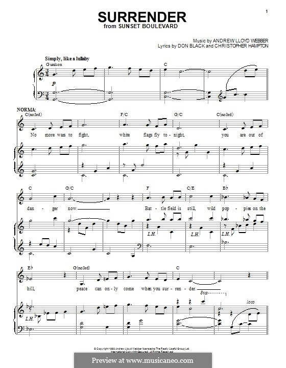 Surrender: For voice and piano by Andrew Lloyd Webber