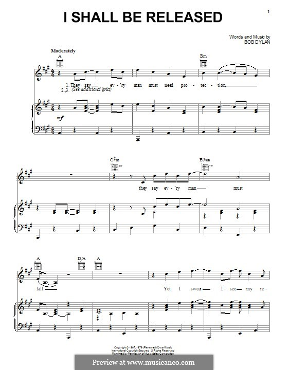 I Shall Be Released: For voice and piano (or guitar) by Bob Dylan