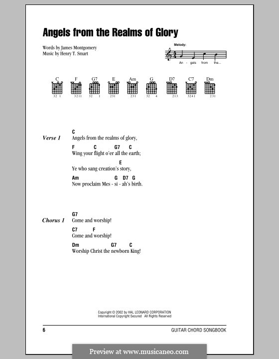 Angels, from the Realms of Glory: Lyrics and chords by Henry Smart