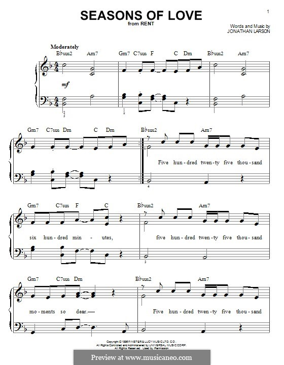 Seasons of Love (from Rent): For piano by Jonathan Larson