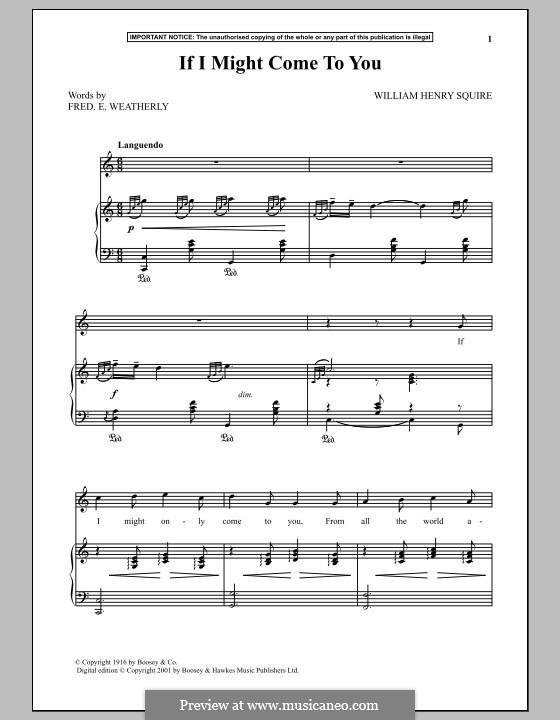 If I Might Come To You: For voice and piano by William Henry Squire