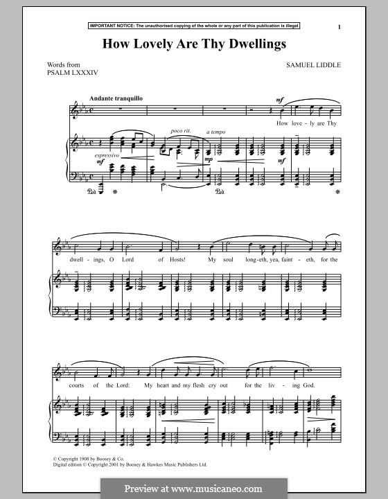 How Lovely are Thy Dwellings: For voice and piano by Samuel Liddle