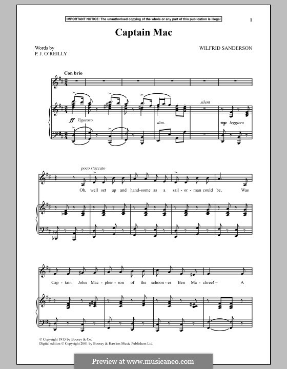 Captain Mac: For voice and piano by Wilfrid Sanderson