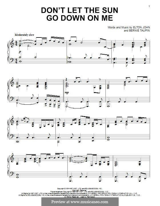 Don't Let the Sun Go Down on Me: For piano by Elton John