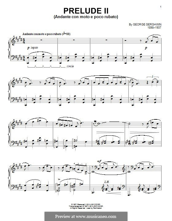 Three Preludes for Piano: Prelude No.2 in C Sharp Minor by George Gershwin