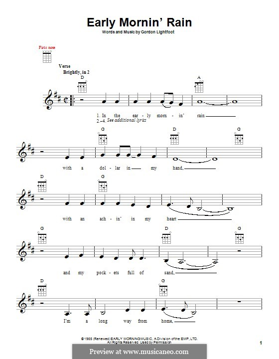 Early Morning Rain (Eva Cassidy): For ukulele by Gordon Lightfoot