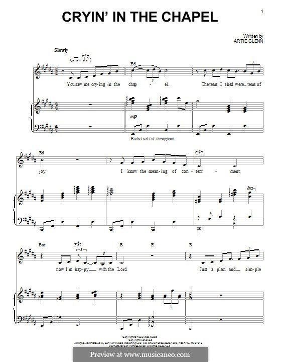 Crying in the Chapel (Elvis Presley): For voice and piano by Artie Glenn