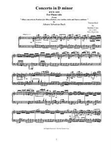 Concerto for Oboe and Orchestra in D Minor, BWV 1059: Movement I Allegro, piano version by Johann Sebastian Bach
