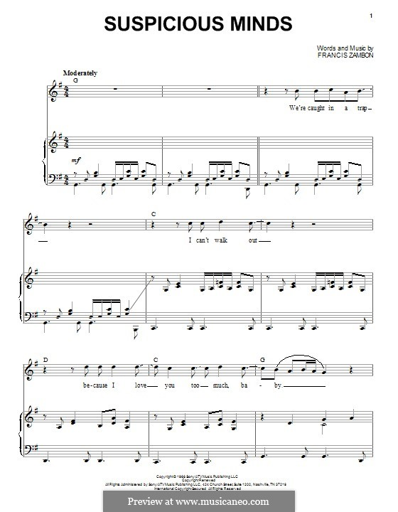 Suspicious Minds (Elvis Presley): For voice and piano by Francis Zambon