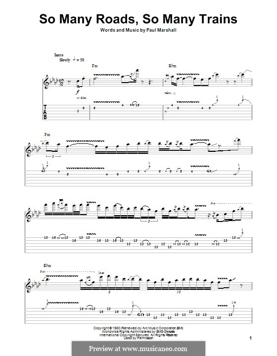 So Many Roads, So Many Trains: For guitar with tab by Paul Marshall