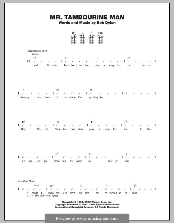 Mr Tambourine Man By B Dylan Sheet Music On Musicaneo