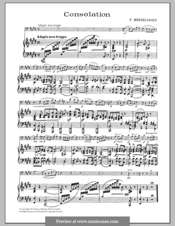 Songs without Words, Op.30: No.3 Adagio non troppo, for cello and piano by Felix Mendelssohn-Bartholdy