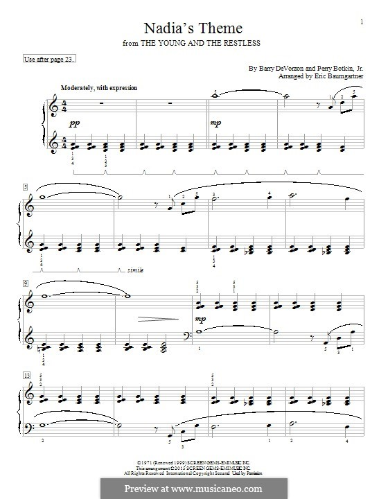 Nadia's Theme (from The Young and the Restless): For piano by Barry DeVorzon, Perry Botkin Jr.