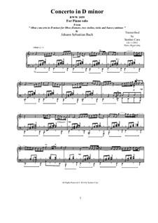 Concerto for Oboe and Orchestra in D Minor, BWV 1059: Movement II Adagio, piano version by Johann Sebastian Bach